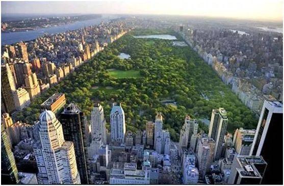 从高空看纽约中央公园, 才知美国城建规划很有远见!(转载)