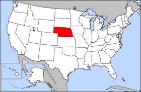 内布拉斯加州在美国的位置。