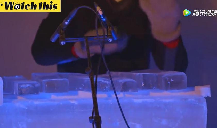 冰乐器音乐会 乐器通通由冰制成