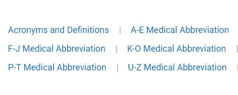 Common Medical Abbreviations List (Acronyms and Definitions)